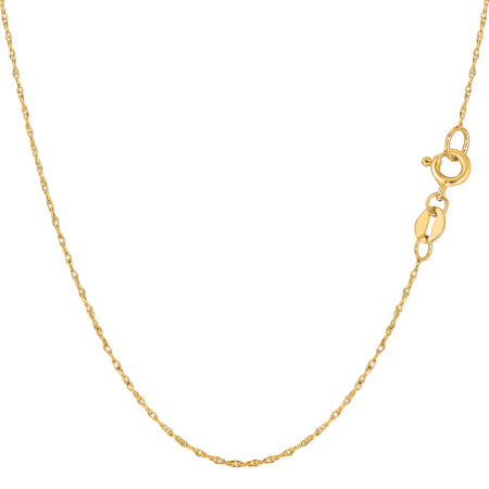 - 10k Yellow Gold Rope Chain Necklace, 0.5mm