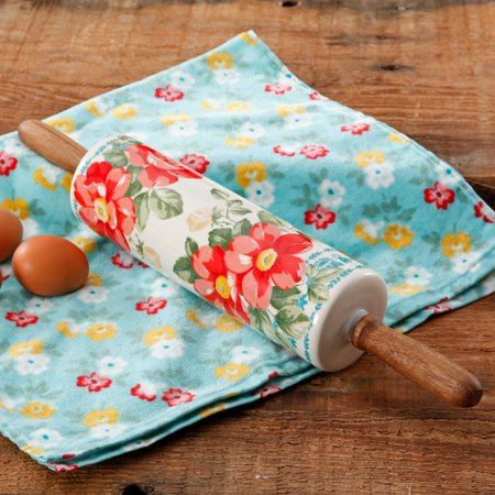 Grip Silicone Rolling Pin - The Pioneer Woman Floral Themed Rolling Pin