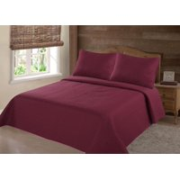 PERSIAN EYGYPTION COLLECTION KING NENA BURGUNDY SOLID CLOSOUT QUILT BEDDING BEDSPREAD COVERLET PILLOW CASES SET