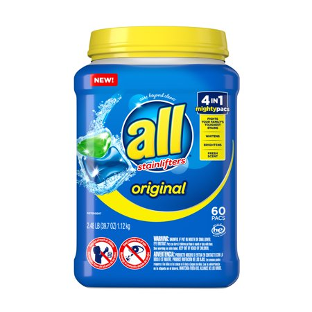 all Mighty Pacs Laundry Detergent, 4in1 Stainlifter, Tub, 60 Count