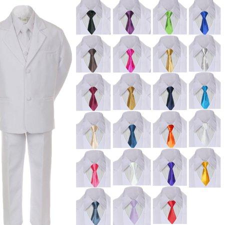 Formal Tuxedo Vest White Satin (6pc Boy Teen Formal Wedding Party White Tuxedo Suit Vest Sets Satin Necktie 5-20 )