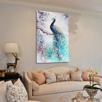 Unframed Print Canvas Wall Art Peacock / Plum Flower Painting Picture Wall Hanging Home Living Room Decor