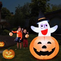 Costway 5 Ft Halloween Blow-up Inflatable Ghost in Pumpkin w/ LED Bulb Yard Decoration