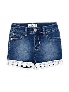 Lace Trim Denim Shorts (Toddler Girls)