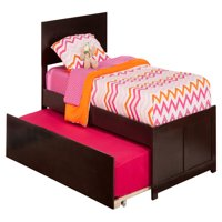 Orlando Twin Platform Bed with Flat Panel Foot Board and Twin Size Urban Trundle Bed in Espresso