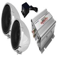 PYLE PLMCA20 - 100 Watt Weatherproof Speaker and Amplifier System with Dual 3'' Speakers, Aux (3.5mm) Input, Handlebar Mount (for Motorcycle, ATV, Snowmobile, Scooter, Boat, Waverunner, Jetski, etc.)