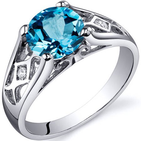 1.75 Carat T.G.W. Swiss Blue Topaz Rhodium-Plated Sterling Silver Engagement Ring