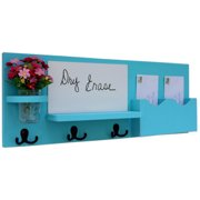 Mail Organizer with Whiteboard, Coat Hooks & Mason Jar