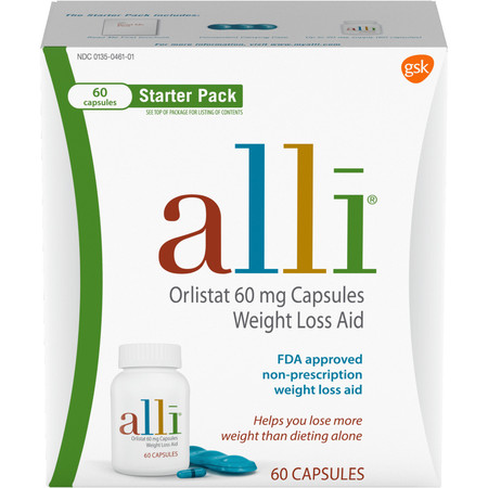 alli Diet Weight Loss Supplement Pills, Orlistat 60mg Capsules Starter Pack, 60 (Best Uzzo Weight Loss For Women)