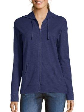 Women's Slub Jersey Cotton Full Zip Hoodie