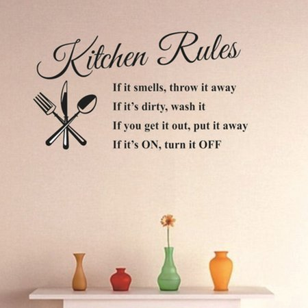 Wall Sticker Removable Kitchen Rules Words Wall Stickers Decal Home Decor Modern 23.62