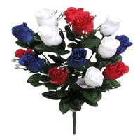 Admired By Nature 14 Stems of Blossoms Rose Flower Bush, Red/White/Blue