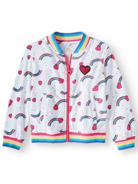 Rainbow Print Bomber Jacket (Little Girls & Big Girls)