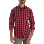 3fc634b4 Wrangler Men's long sleeve plaid woven shirt. Product Variants Selector.  Pompeian Red Maritime Blue