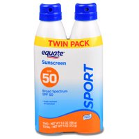 Equate Sport Broad Spectrum Sunscreen Continuous Spray Twin Pack, SPF 50, 5.5 oz