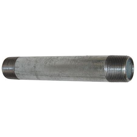"Value Brand 1"" x 12"" MNPT Threaded Galvanized Steel Pipe Nipple, 6P836"