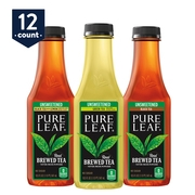 Pure Leaf Iced Tea, Unsweetened Variety Pack, Real Brewed Tea, 18.5 oz Bottles, 12 Count