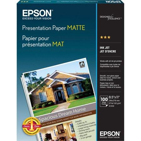Epson, EPSS041062, Matte Inkjet Presentation Paper, 100 / Pack, White