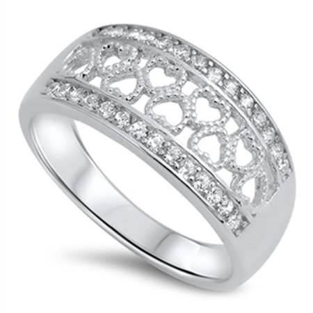 - Heart Cutout Clear CZ Promise Ring ( Sizes 5 6 7 8 9 10 ) New .925 Sterling Silver Love Band Rings by Sac Silver (Size 6)