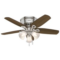 """Hunter 42"""" Builder Low Profile Brushed Nickel Ceiling Fan with Light"""