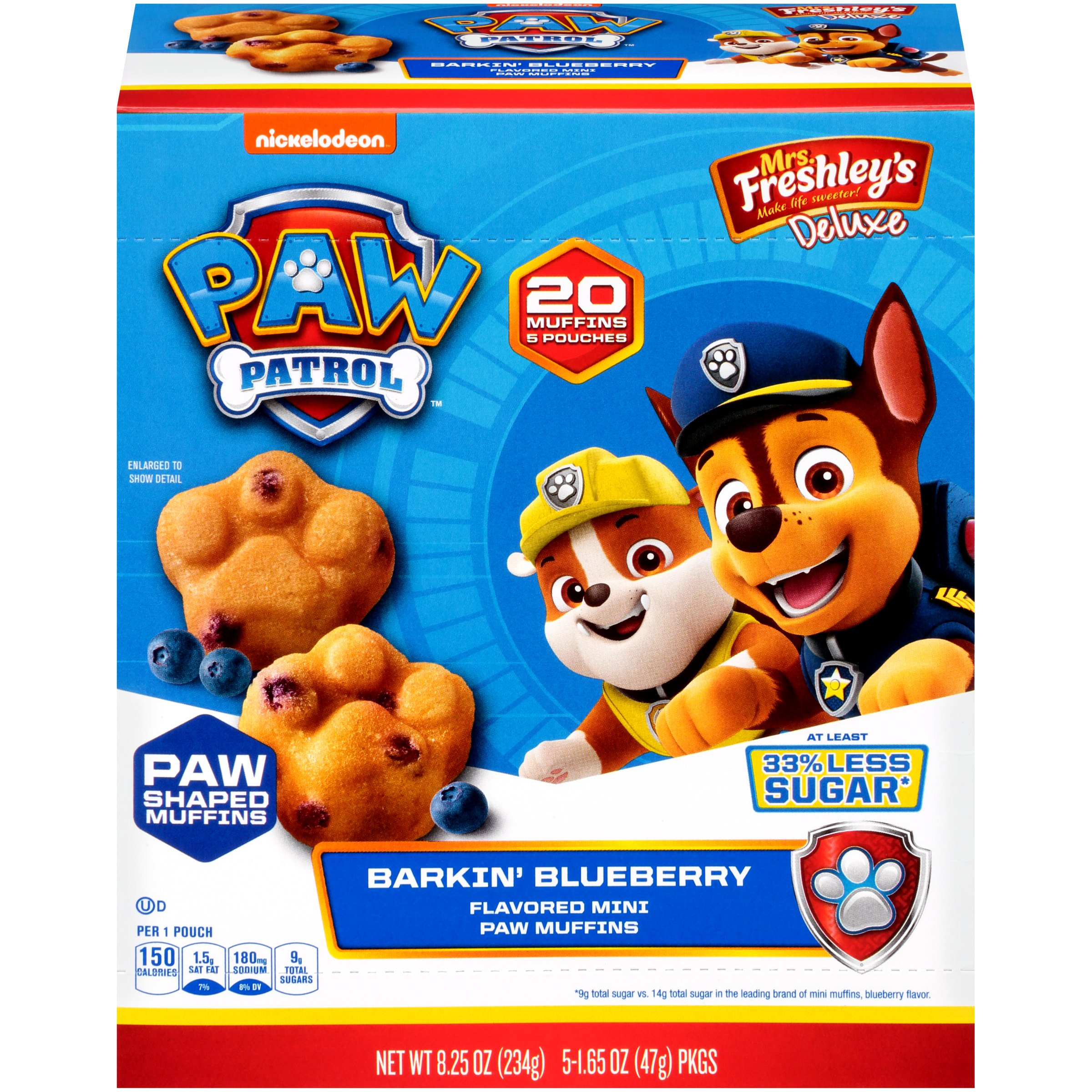 Mrs. Freshleys Deluxe Paw Patrol Barkin Blueberry Mini Paw Muffins, 1.65 Oz, 5 Pack