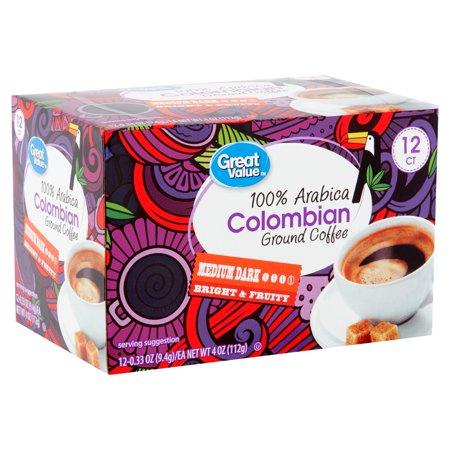 100% Columbian Coffee - Great Value 100% Arabica Colombian Coffee Pods, Medium-Dark Roast, 12 Count