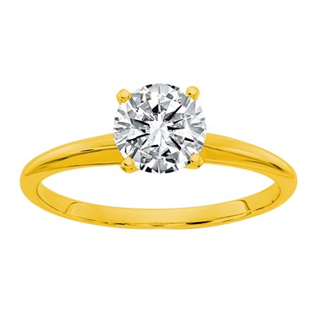 14k Yellow Gold Round IGI Certified Diamond Solitaire Engagement Ring (D/VS2- 1Cttw)