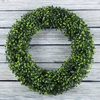 "Pure Garden 19.5"" Artificial UV Resistant Boxwood Wreath for the Front Door, Green"