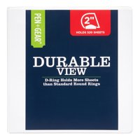 Pen + Gear 2-inch Durable Binder, Clearview Cover, White