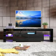 Mecor TV Stand Media Console Cabinet LED Shelves with 2 Drawers for Living Room Storage High Gloss Black for up to 63-inch TV Screens