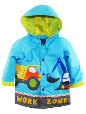 Wippette Boys Rain Coat Rainwear Waterproof Hooded Work Zone Construction Trucks Rain Jacket Slicker Raincoat