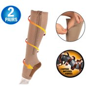 efba13228 Copper Infused Zipper Compression Socks - Zip Up Circulation Pressure  Stockings - Zippered Knee High For
