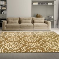 Superior Elegant Scrolling Damask Pattern, 10mm Pile with Jute Backing, Affordable Contemporary Area Fleur de Lis Collection Area Rugs