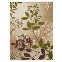 Mainstays Belvedere Tan Leaves Print Area Rug or Runner, Multiple Sizes