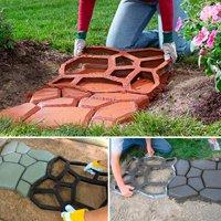 Topeakmart 2x Plastic Pathmate Walk Way Paver Concrete Stone Mould Paving Mold Black