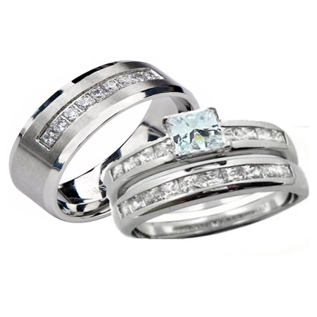 His Hers 3 Piece  Sterling Silver and Stainless Steel Cz Wedding Ring Set