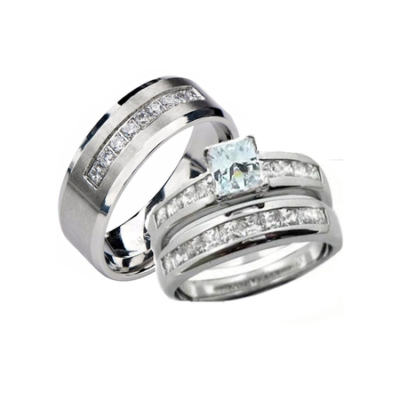 His Hers 3 Piece  Sterling Silver and Stainless Steel Cz Wedding Ring Set ()