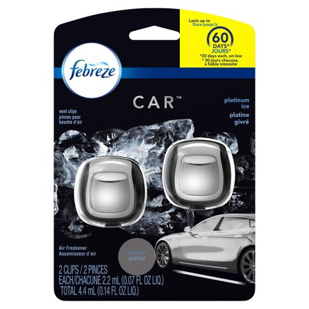 Febreze Car Air Freshener Vent Clips, Platinum Ice, 2 count