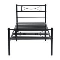 Cheerwing Twin Metal Bed Frame Platform Base Mattress Foundation with Two Bowknot Headboards