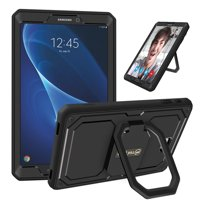 For Samsung Galaxy Tab A 10.1 NO S Pen SM-T580 Case 360 Rotating Grip Stand Shockproof Cover Screen Protector, Black
