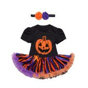 StylesILove Infant Baby Girl Halloween Short Sleeve Cotton Romper Tutu Party Dress and Headband 2 pcs