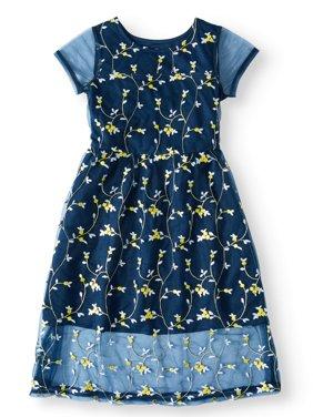 Embroidered Mesh Dress (Little Girls, Big Girls & Big Girls Plus)