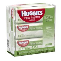 HUGGIES Natural Care Baby Wipes, Sensitive, 3 packs of 56, 168 Ct