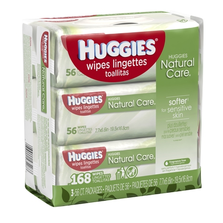 HUGGIES Natural Care Baby Wipes, Sensitive, 3 packs of 56, 168