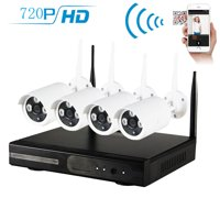 Zimtown 4CH 720P NVR Wireless Wifi Outdoor IR Night Vision Home Security Camera System (Hard Drive NO Include)