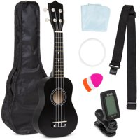 Best Choice Products Basswood Ukulele Musical Instrument Starter Kit w/ Waterproof Nylon Carrying Case, Strap, Picks, Cloth, Clip-On Tuner, Extra String - Black