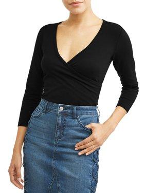 Faux Wrap Knit 3/4 Sleeve Top Women's