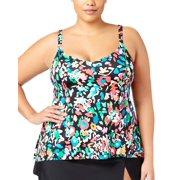 8d8e821005ac6 Swim Solutions Womens Plus Size Color Take Tankini Top 22W Black Multi  Swimsuit