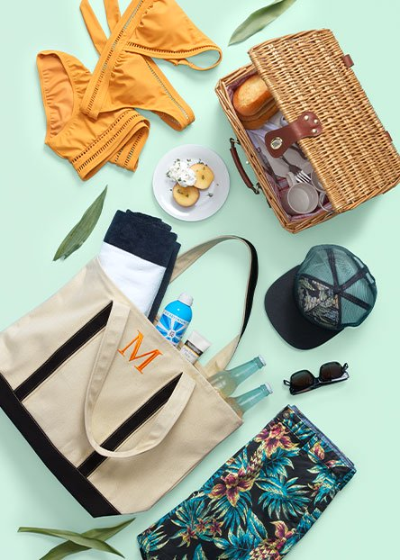 Lake weekend. Swimsuits, sunscreen & more for soaking up the sun.