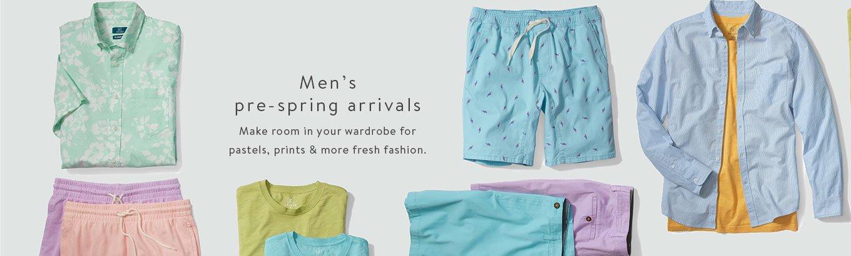 Men's pre-spring arrivals. Make room in your wardrobe for pastels, prints & more fresh fashion.